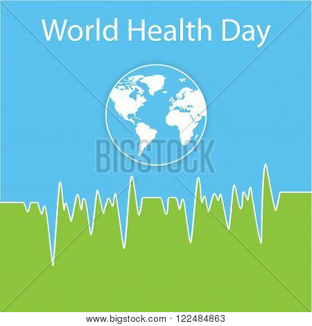 Vector illustration. Poster for World Health Day in white, blue, green colors. The Earth. Tear-off calendar with globe and normal cardiogram as a concept for World Health Day.