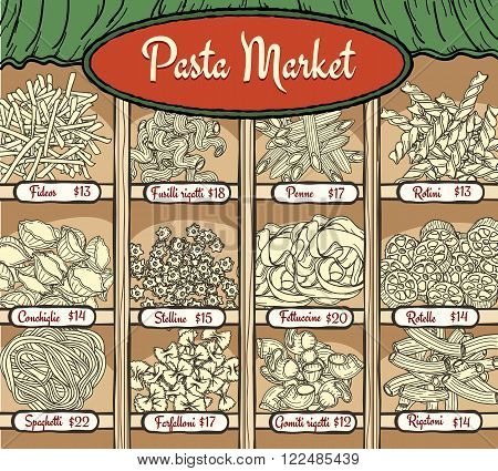 Different types of pasta with name and price. Pasta and spaghetti, noodles and other pasta products vector illustration