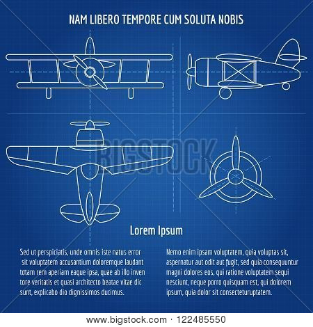 Plane blueprint image Drawing airplane draft with text on dark blue background. Vector illustration