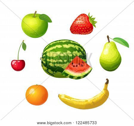 Ripe fruits isolated on white background. Set of icons of fruits - apple, pear, strawberry, cherry, mandarin, banana and watermelon