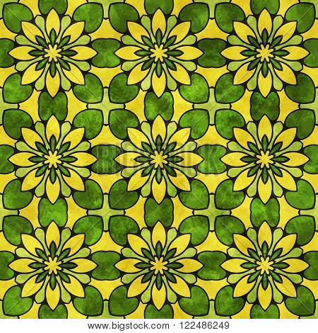 Geometric seamless pattern with yellow flowers and green leaves and watercolor texture