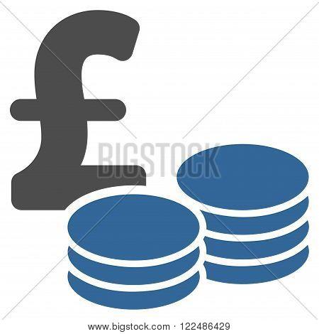 Pound Coins vector icon. Pound Coins icon symbol. Pound Coins icon image.
