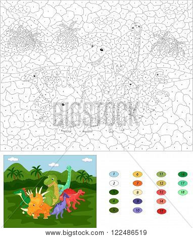 Funny Cute Dinosaurs On The Background Of A Prehistoric Nature. Color By Number Educational Game For