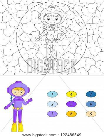 Cartoon Diver. Color By Number Educational Game For Kids