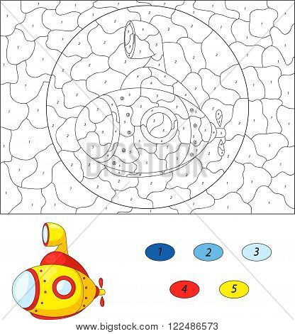 Cartoon Submarine. Color By Number Educational Game For Kids