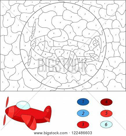 Cartoon Plane. Color By Number Educational Game For Kids