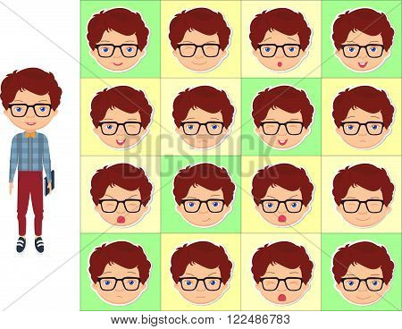 Boy With Glasses Emotions: Joy, Surprise, Fear, Sadness, Sorrow, Crying, Laughing