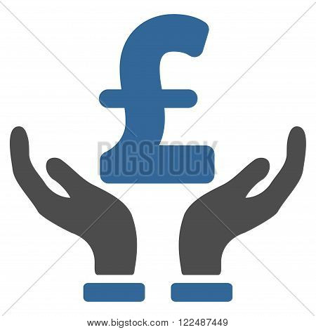 Pound Insurance Hands vector icon. Pound Insurance Hands icon symbol. Pound Insurance Hands icon image. Pound Insurance Hands icon picture. Pound Insurance Hands pictogram.