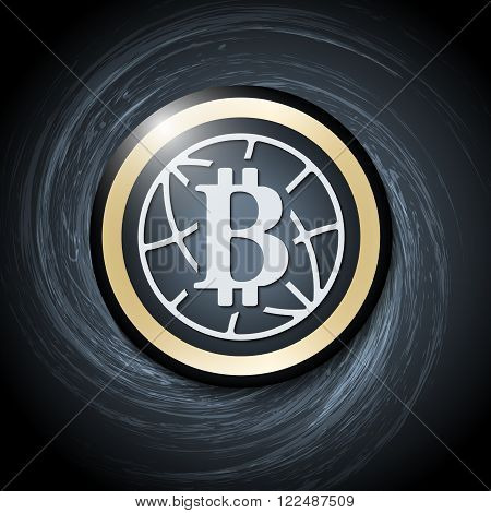 Dark background with abstract spirals and bit coin icon