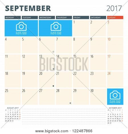 Calendar Planner For 2017 Year. Design Template With Place For Photos And Notes. September. Week Sta