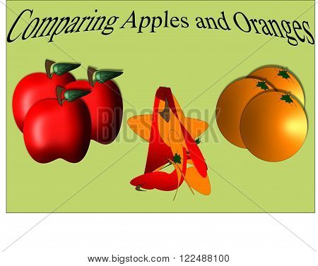 A poster illustration depicting the unpleasant results of comparing apples and oranges