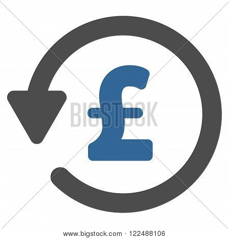 Pound Rebate vector icon. Pound Rebate icon symbol. Pound Rebate icon image. Pound Rebate icon picture. Pound Rebate pictogram. Flat pound rebate icon. Isolated pound rebate icon graphic.