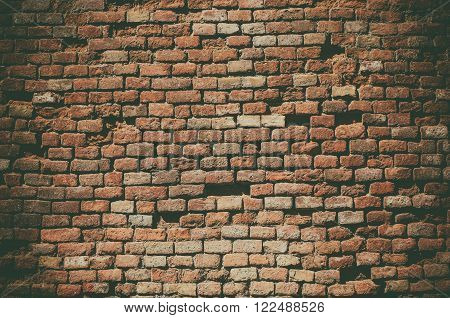 Old red brick rough wall grunge texture, vintage background