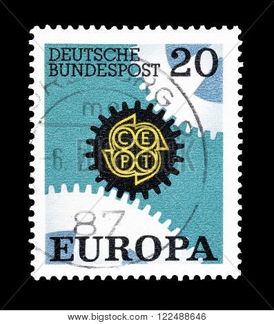 GERMANY - CIRCA 1967 :Cancelled postage stamp printed by Germany, that shows CEPT stamp.
