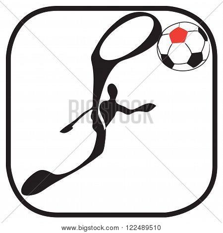 Shadow man football sky kick ball in soccer team symbol and logo graphic design
