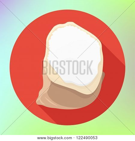 flour bag flat long shadow style vector icon. powder bag modern flat pictogram. flour sack symbol. sac flour sign.