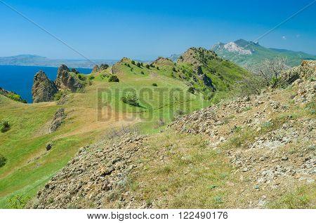 Volcanic mountain range Kara Dag at spring season, Eastern Crimea