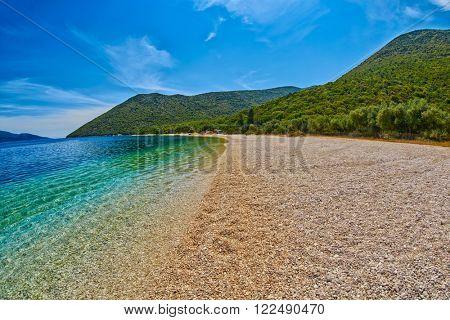 Empty Beach Shore in Antisamos Bay in Kefalonia, Greece