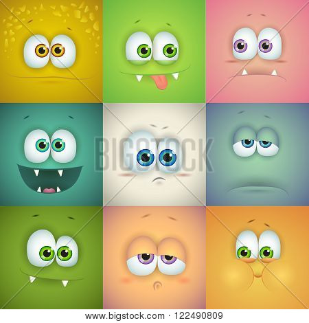 Set of funny vector faces, emoticons, square avatars and icons. Vector