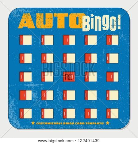 retro bingo card template with sliding windows. vintage game board design.