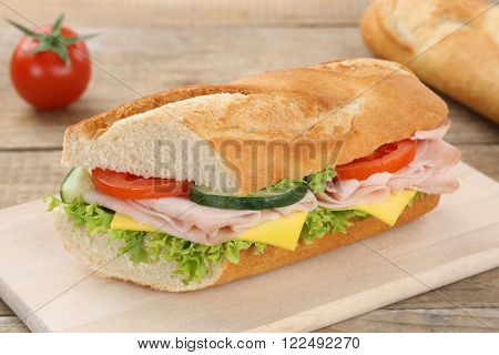 Sub Sandwich Baguette With Ham For Breakfast