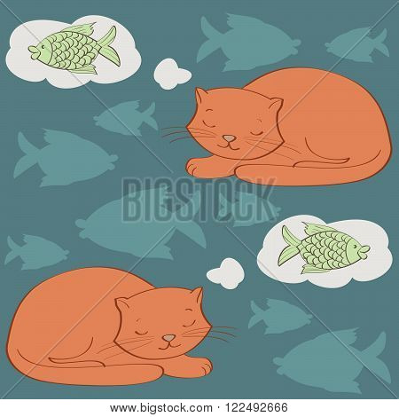 sleeping cat and fish. seamless pattern vector illustration.