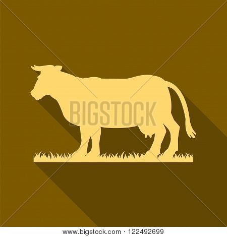 Gold silhouette of cow. Gold icon. Simple flat vector illustration EPS 10.