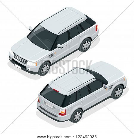 Off-road car. Vector illustration brown safari travel car. Flat 3d vector isometric illustration vehicle. Car jeep off road suv illustration isolated