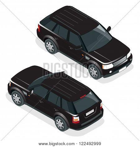 Off-road car. Vector illustration brown safari travel car. Flat 3d vector isometric illustration vehicle. Car jeep off road suv illustration isolated