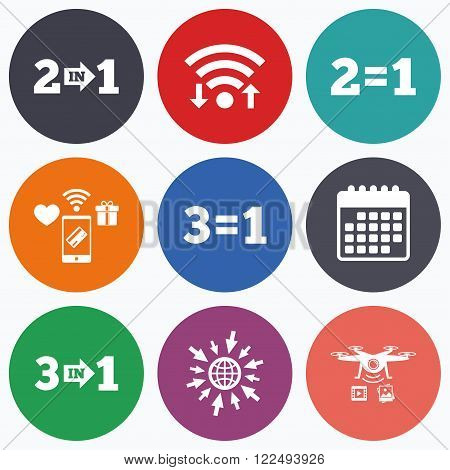Wifi, mobile payments and drones icons. Special offer icons. Take two pay for one sign symbols. Profit at saving. Calendar symbol.