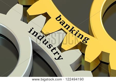 Banking Industry concept on the metallic gearwheels