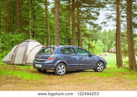 Car Opel Astra H Parked In Campsite. Hamina, Finland, Suomihamina, Finland, Suomi