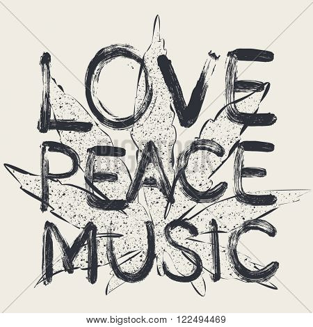 Vector love peace music, t-shirt design