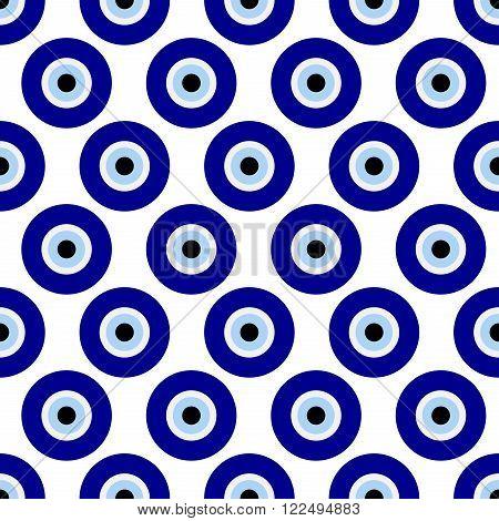background seamless illustration with Turkish eye - protecting amulet