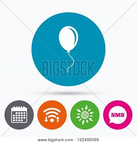 Wifi, Sms and calendar icons. Balloon sign icon. Birthday air balloon with rope or ribbon symbol. Go to web globe.
