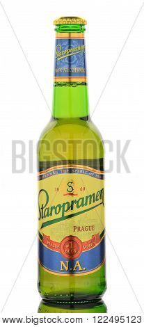 CIRCA MARCH 2016 - GDANSK: Staropramen non alcoholic premium beer isolated on white. Staropramen brewery was founded in Praque in 1869 and at present is second largest brewery in the Czech Republic