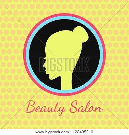 Beuaty salon emblem with pretty woman head in a circle. decorated with dots background. 1960 style