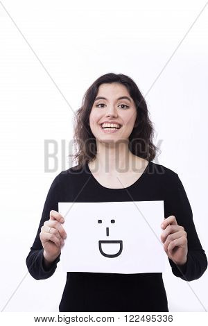 emotional  woman with emoticon on the white background isolated