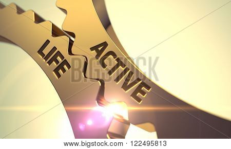 Active Life - Technical Design. Active Life on Mechanism of Golden Metallic Cog Gears with Lens Flare. Active Life on Mechanism of Golden Metallic Cogwheels. Golden Gears with Active Life Concept. 3D.