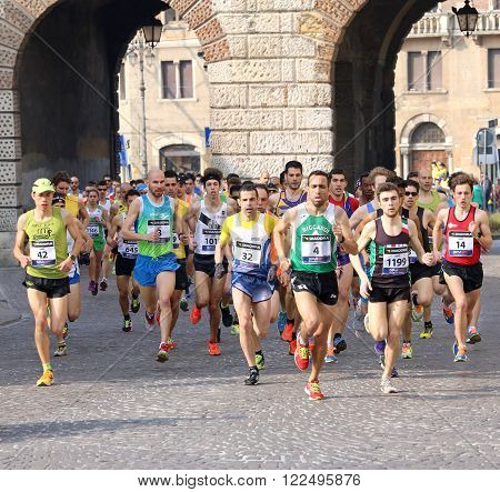Vicenza VI Italy - March 20th, 2016: many runners in the race called StraVicenza in Vicenza city in Northen Italy