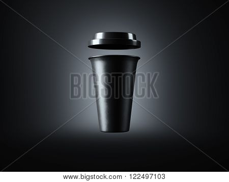 Photo black plastic take away coffee cup. Isolated on the dark background. Ready for business info. Front view. Horizontal mockup.