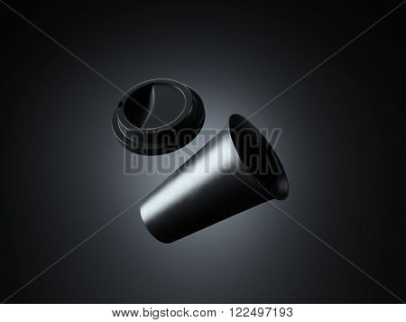 Photo black plastic take away coffee cup. Isolated on the dark background, studio. Ready for business info.