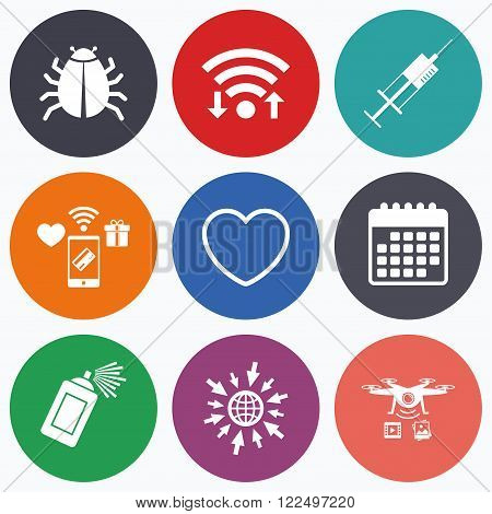 Wifi, mobile payments and drones icons. Bug and vaccine syringe injection icons. Heart and spray can sign symbols. Calendar symbol.