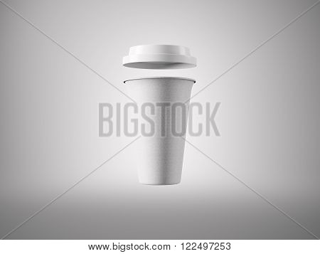 Photo open white carton take away coffee cup. Isolated on the light background. Ready for business info. Horizontal