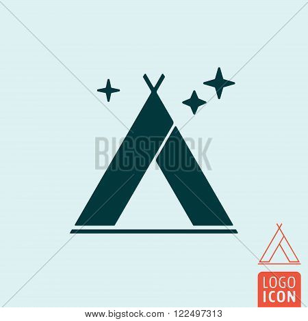 Tent icon. Tent symbol. Tourist tent isolated. Vector illustration