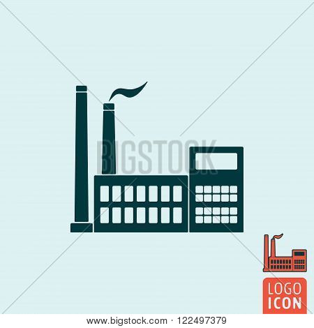Factory icon. Factory symbol. Factory building icon. Industry icon isolated. Vector illustration