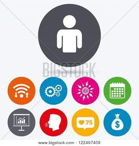 Wifi, like counter and calendar icons. Business icons. Human silhouette and presentation board with charts signs. Dollar money bag and gear symbols. Human talk, go to web.