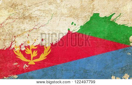 Eritrea flag with some soft highlights and folds