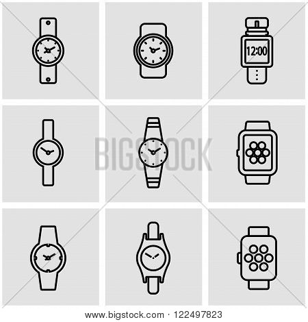 Vector line wristwatch icon set on grey background