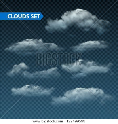 Collection of  isolated realistic transparent night clouds. Vector illustration EPS10